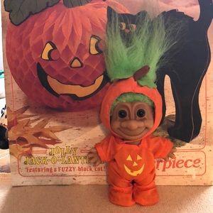 Vintage pumpkin kid trick-or-treat Russ troll